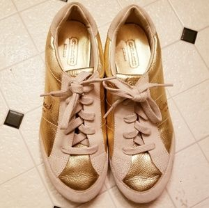 Coach Tennis Shoes Great Condition Gold & White